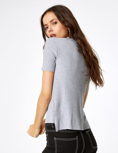 Grey marl T-shirt with press-stud detail