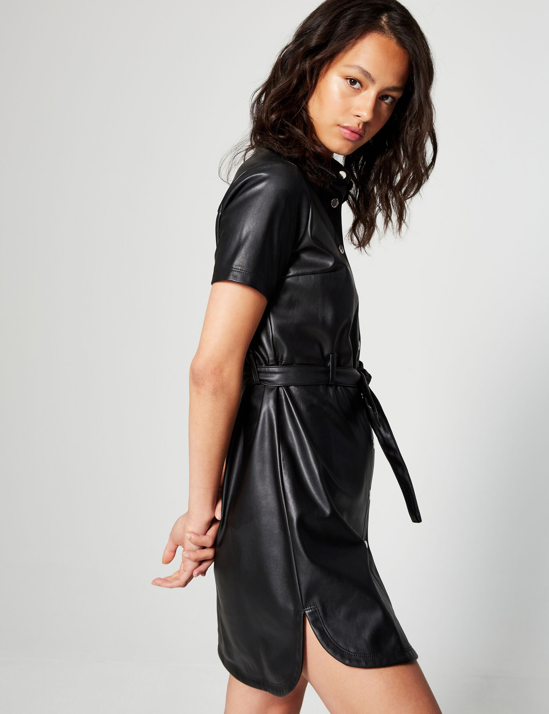 A-line dress in leatherette