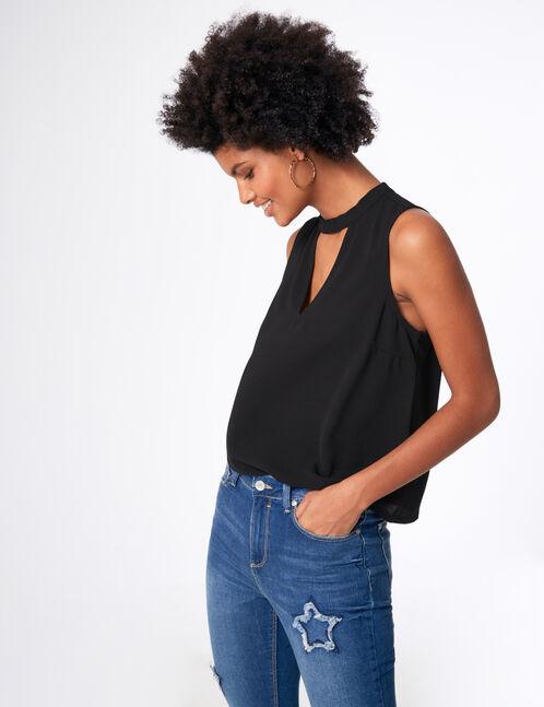 blouse avec ouverture noire