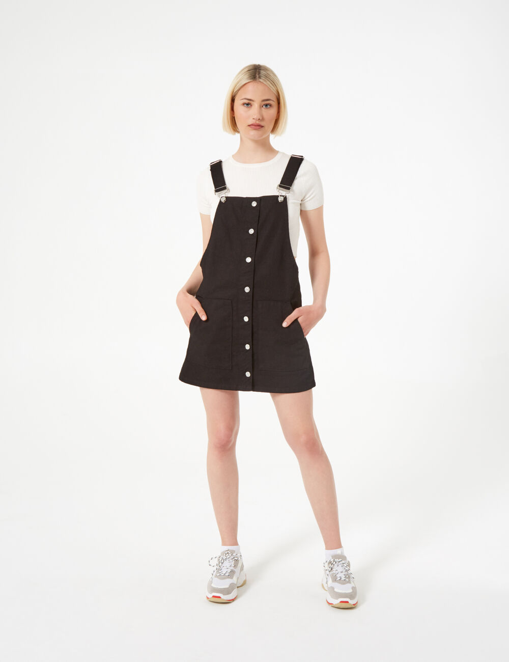 8f2faef13914 Black denim pinafore dress woman • Jennyfer