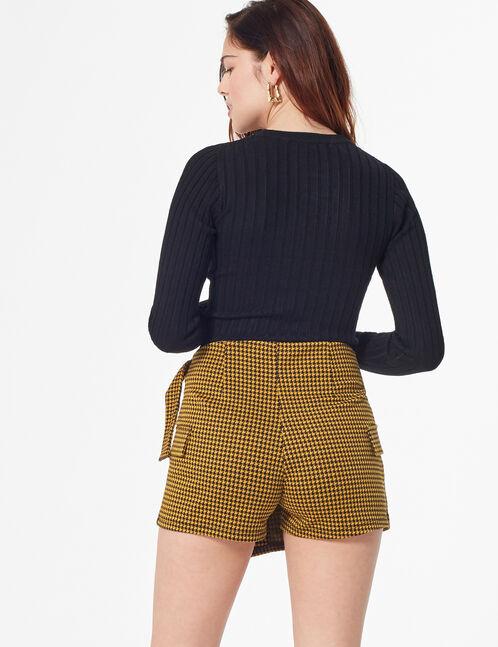 jupe short pied-de-poule