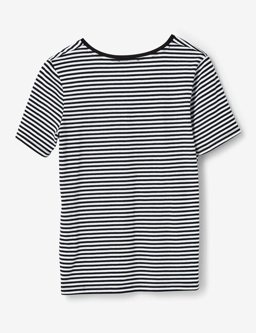 Black and white T-shirt with sequined patch detail