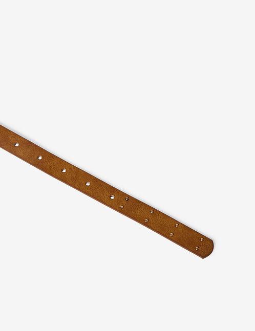 Camel skinny belt with stud detail