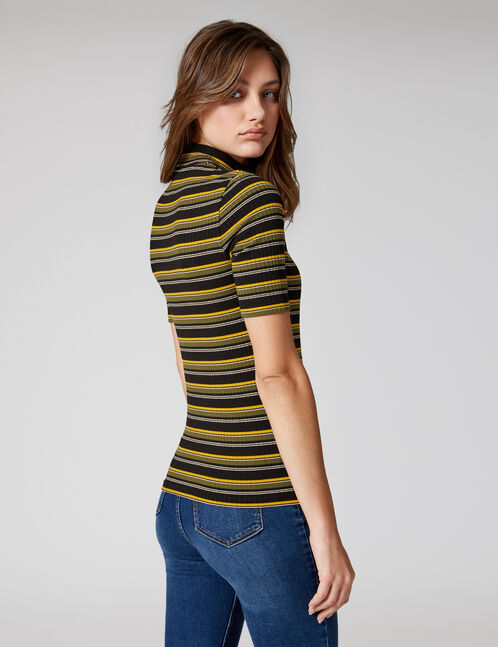 Black, white, ochre and khaki striped T-shirt with zip detail