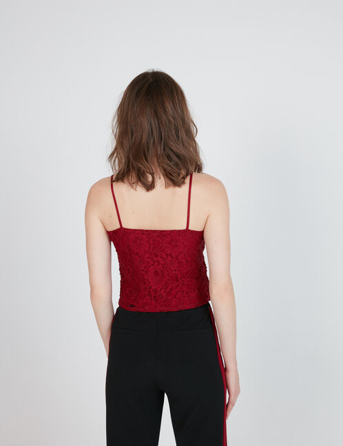 Burgundy lace crop top