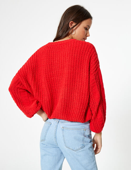 pull chenille ajourée rouge