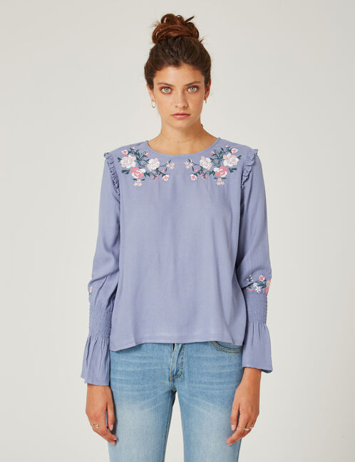 Light blue embroidered blouse