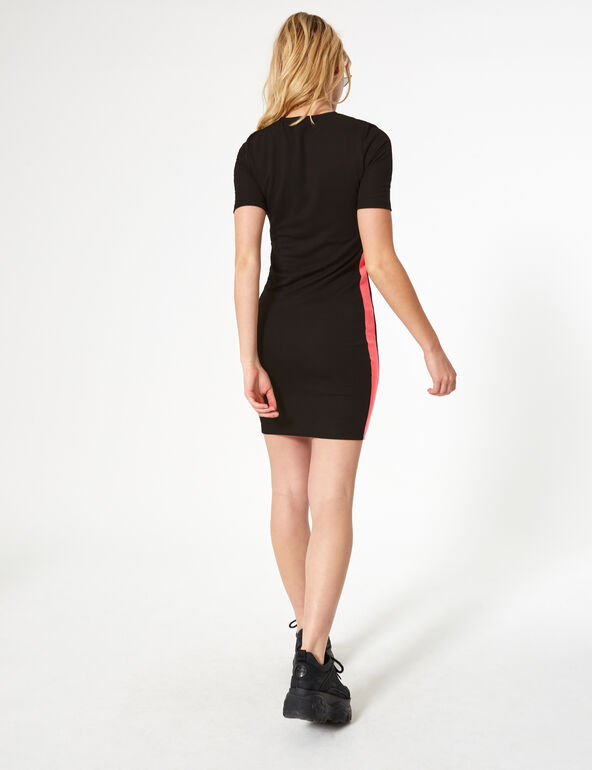 Black and neon pink dress with stripe detail