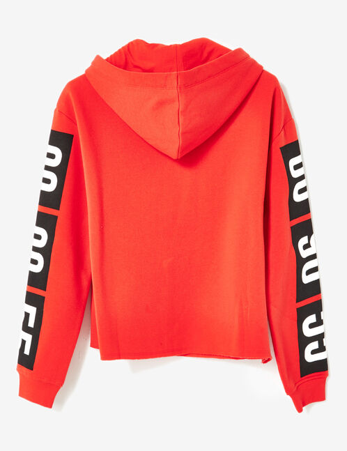 Red sweatshirt with text design