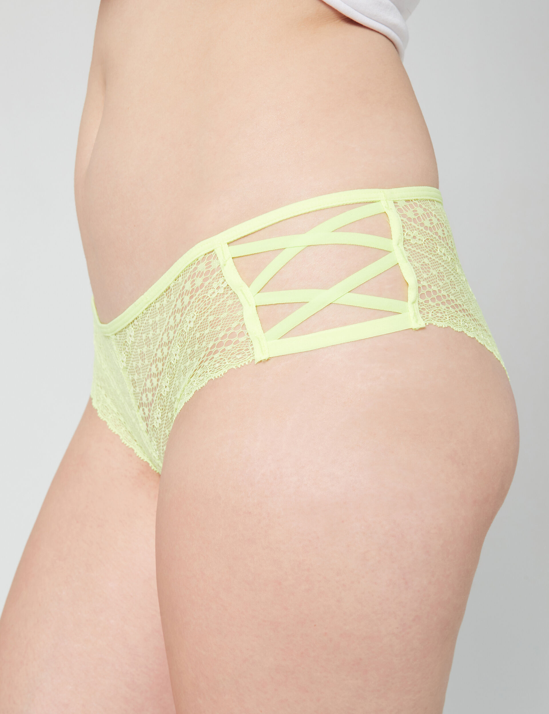 Lace boyshorts with strap detail