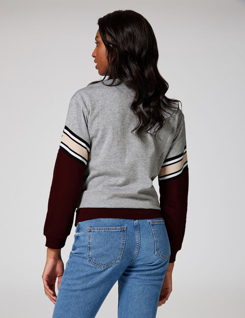 Long grey marl and plum sweatshirt with chevron detail