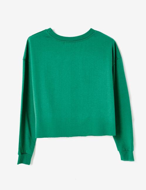 Green sweatshirt with text design detail