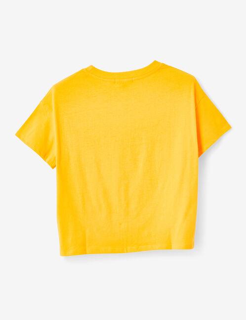 crop top à message jaune