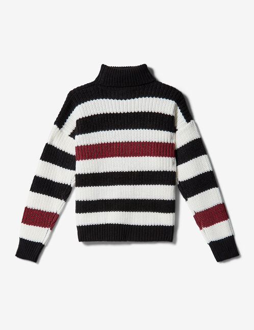Black, white and burgundy striped jumper