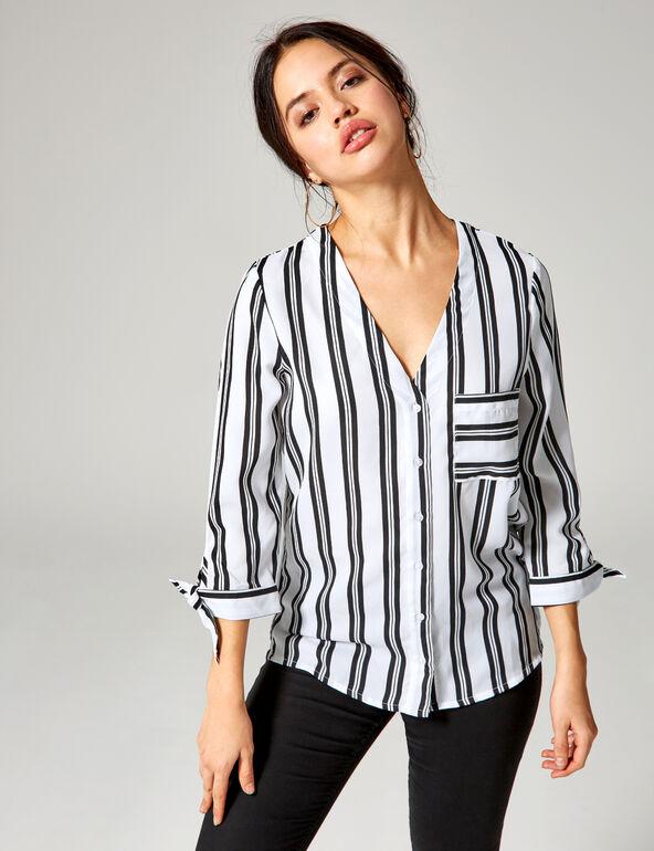 White and black striped v-neck shirt