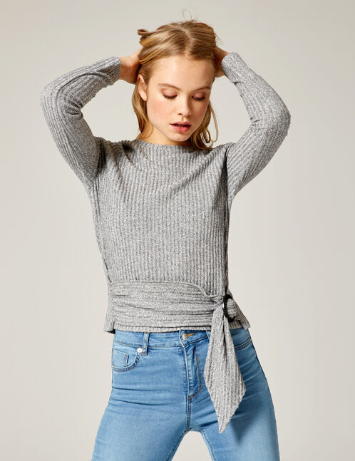 Grey marl top with belt detail
