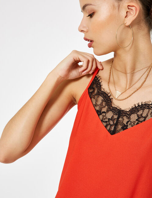 Red camisole with lace detail