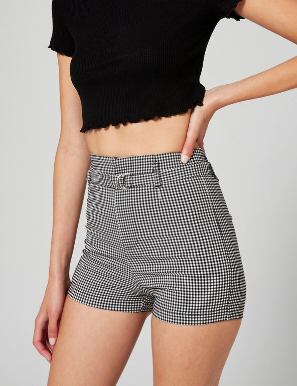 Gingham belted shorts