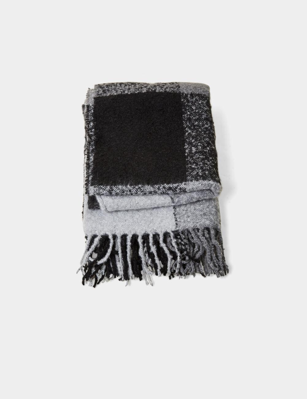 Écharpe plaid texturée grise et noire femme • Jennyfer 4f327b92b8c