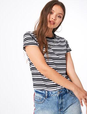 tee-shirt basic rayé noir et blanc