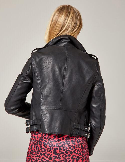 veste biker à poches noire