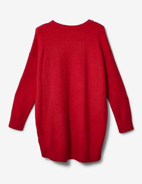 Long red cashmere-feel jumper