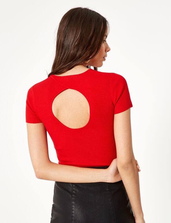 Pull côtelé rouge