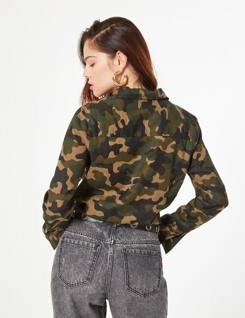 camouflage tie-fastening shirt