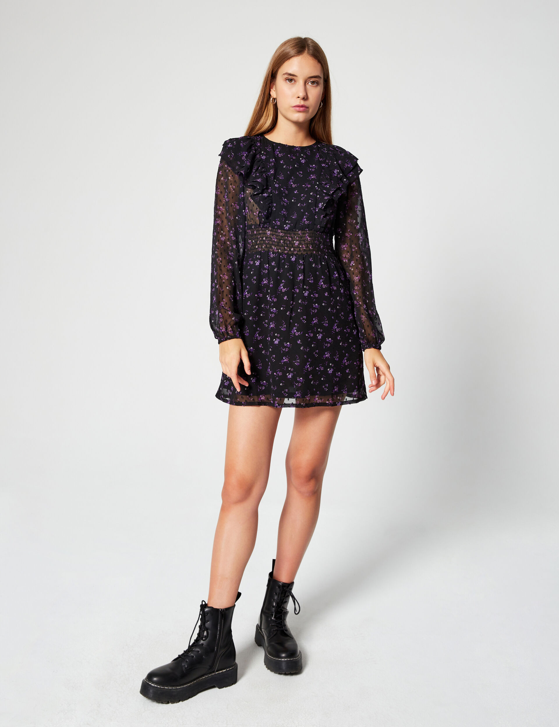Floral-print dress with frills
