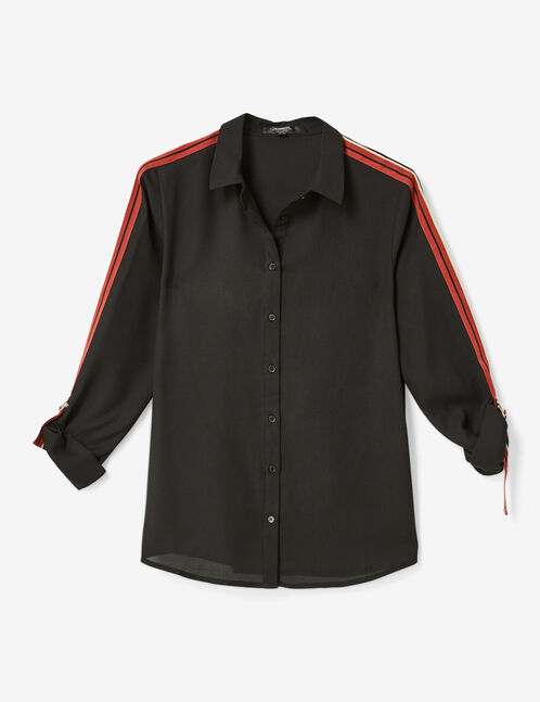 Black shirt with striped trim detail