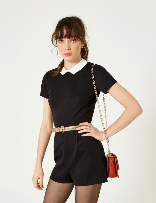 Black playsuit with white collar detail