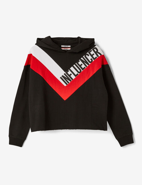 """Black, white and red """"influencer"""" hoodie with chevron detail"""