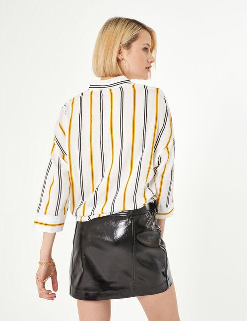 Cream, yellow and black striped shirt