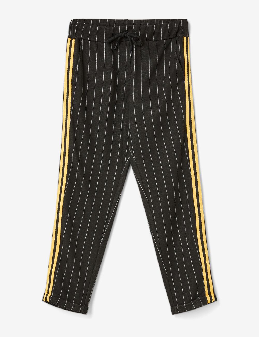 pantalon avec bandes ray es noir et blanc femme jennyfer. Black Bedroom Furniture Sets. Home Design Ideas