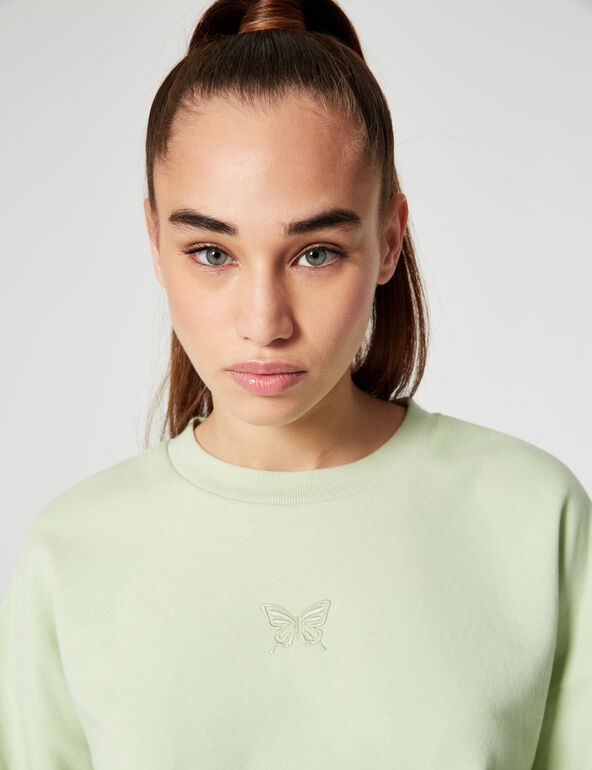 Embroidered butterfly sweatshirt