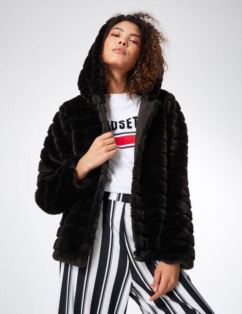 manteau fausse fourrure noir femme jennyfer