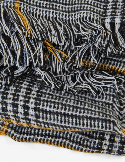 Black, white and ochre glen check scarf