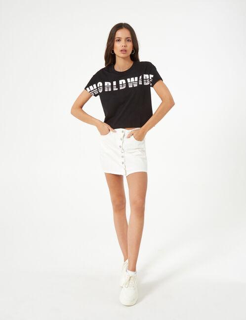 tee-shirt world wide noir et blanc