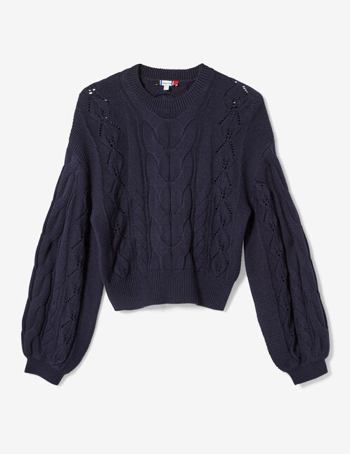 Navy blue cable and openwork knit jumper