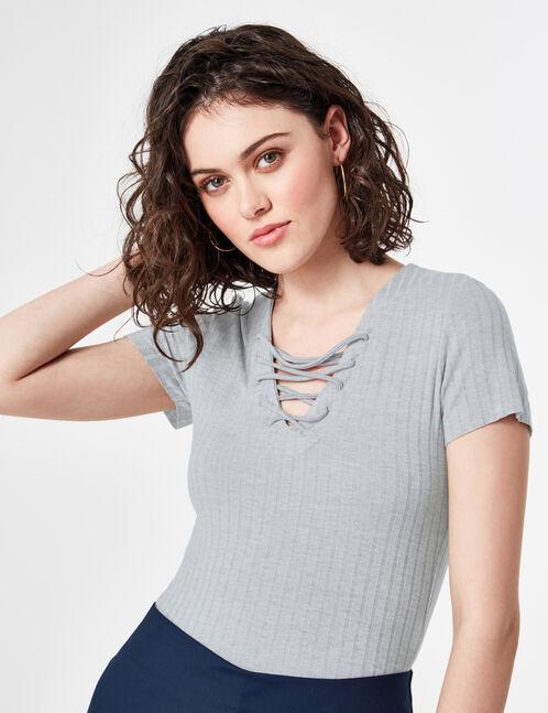 tee-shirt avec laçage gris chiné