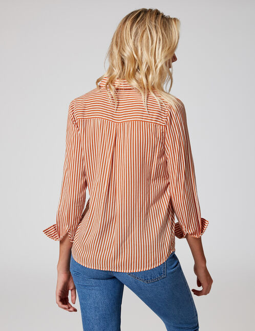 chemise rayée orange et blanche