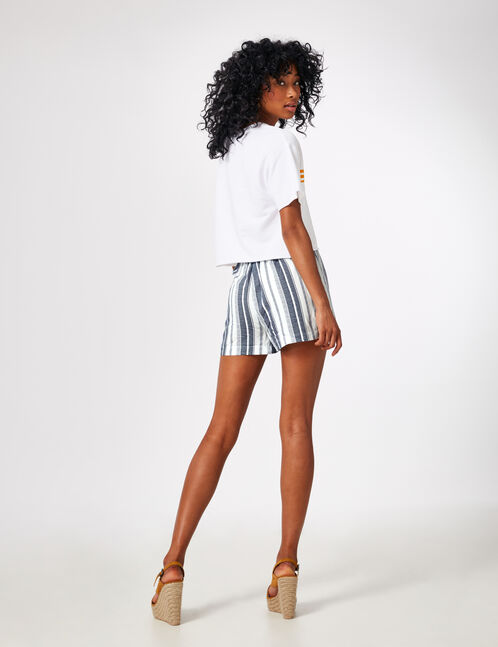 Cream and navy blue striped draped shorts
