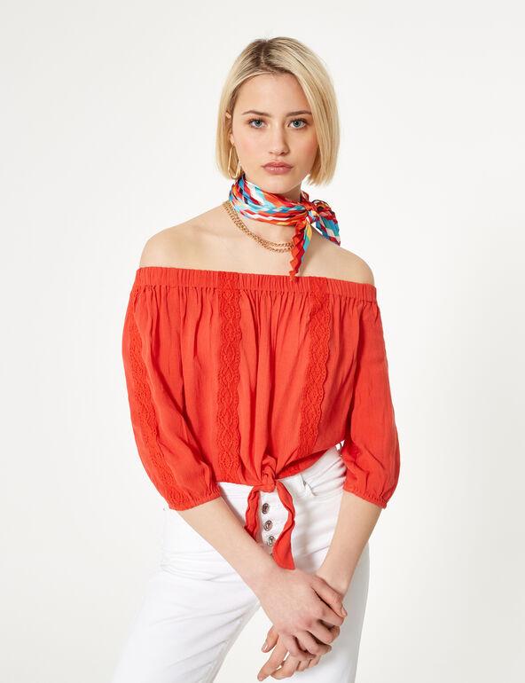 Blouse épaules dénudées rouge
