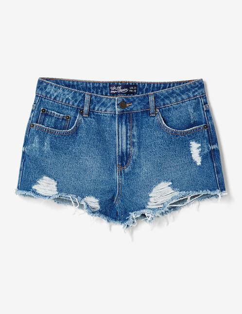 short en jean destroy medium blue
