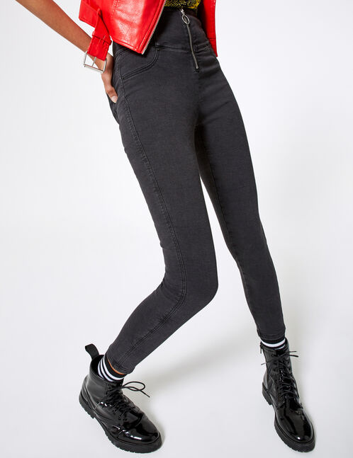 jean taille haute zippé noir
