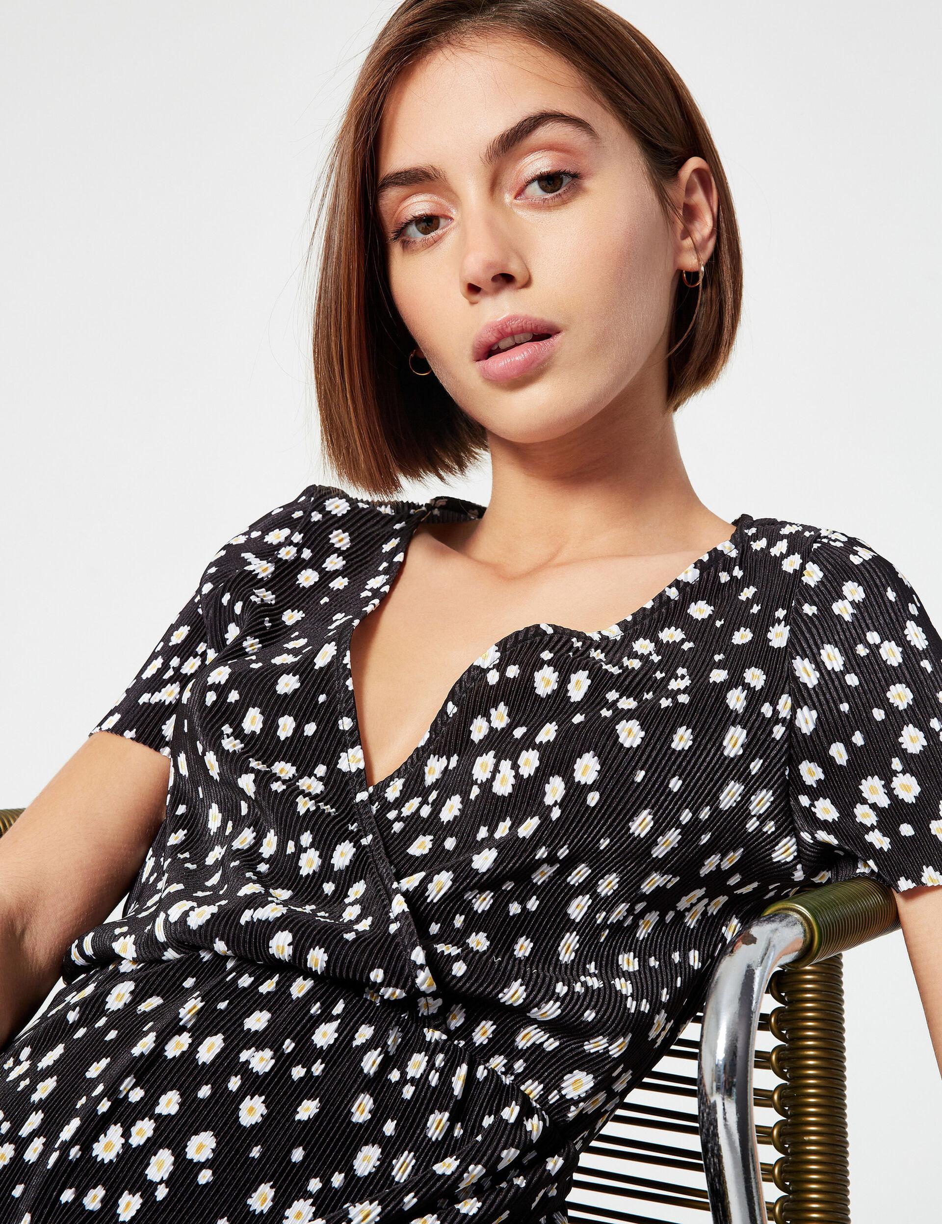 Floral-print crinkle-effect jumpsuit