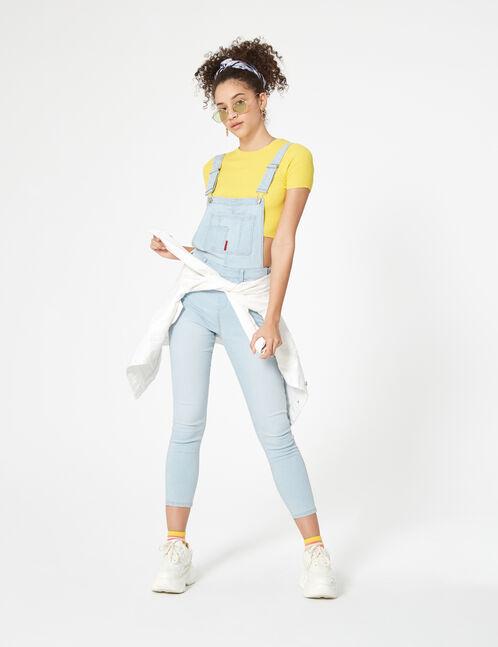 salopette en jean bleu ciel