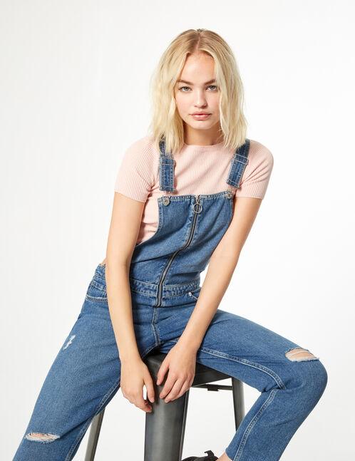 salopette en jean zippée