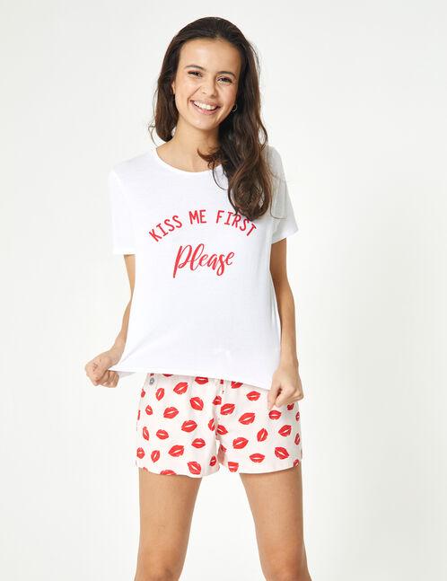 set pyjama kiss me blanc, rose clair et rouge