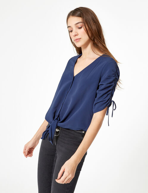 Navy blue blouse with gathered sleeve detail